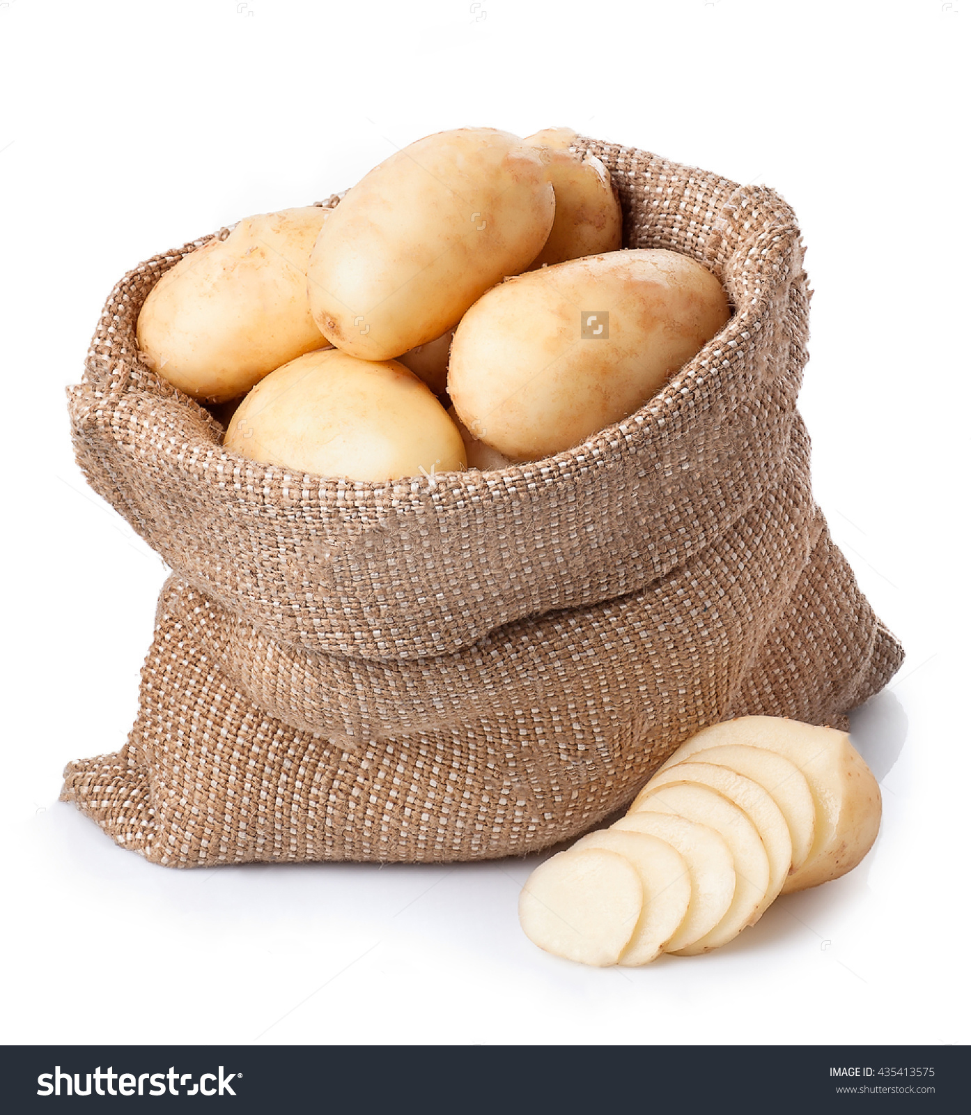 White potatoes in jute bag